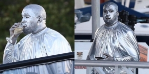 Kanye West paints entire body silver to perform the birth of Jesus Christ play (Photos)